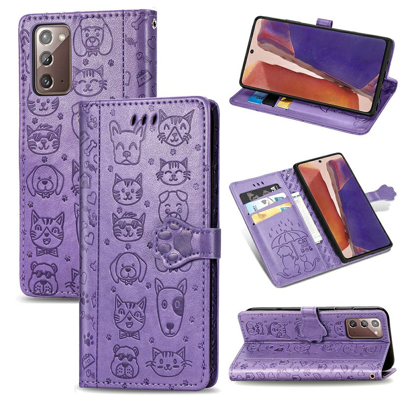 PU Leather Phone Case Flip Stand Cover with Card Slot for Samsung Galaxy Note 20 - Purple
