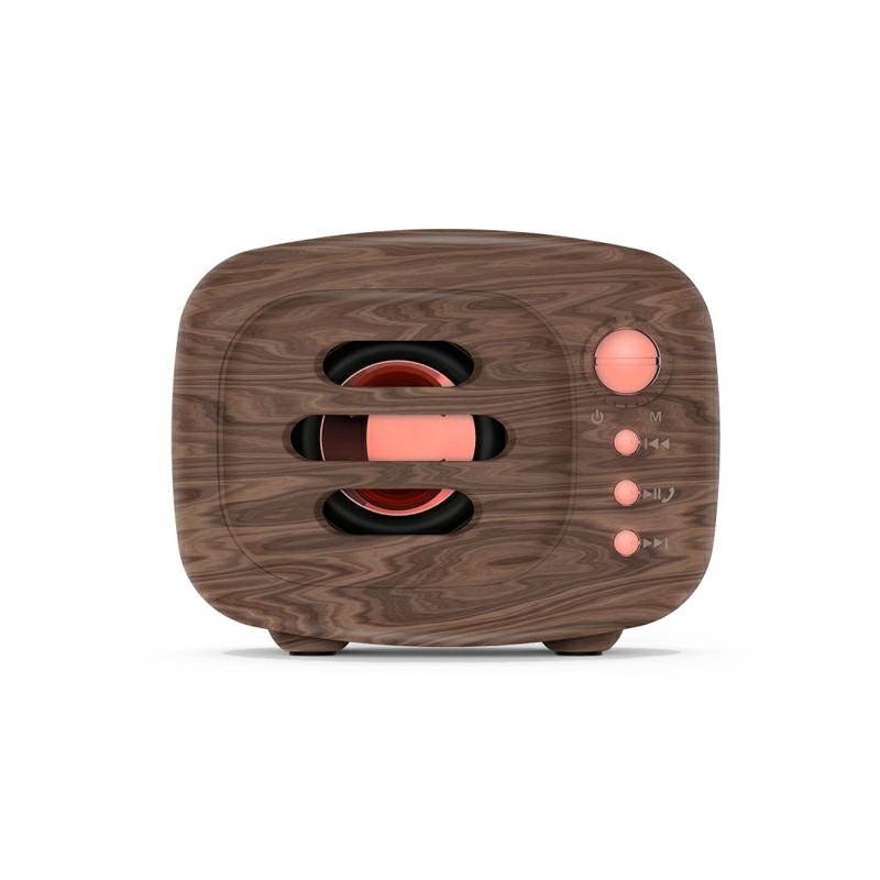 B11 Bluetooth 5.0 Stereo Vintange Loud Speaker Support TF Card AUX Input - Wood Grain