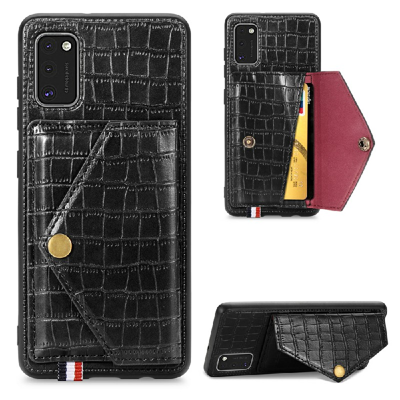 Leather Wallet Case Card Slot Shockproof Flip Cover Crocodile Pattern for Samsung Galaxy A41 - Black