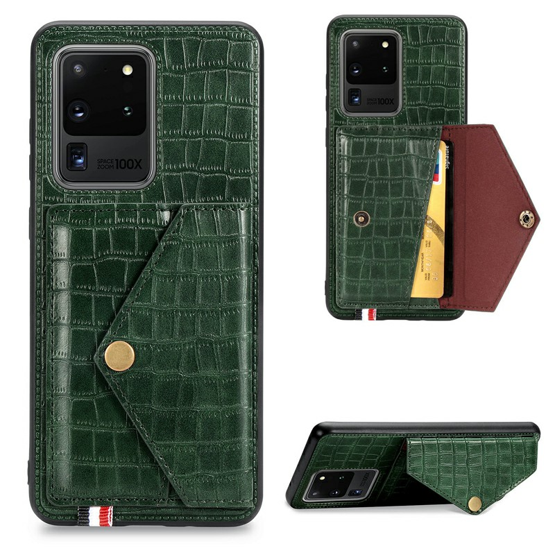 Shockproof Flip Cover Crocodile Pattern Leather Wallet Case Card Slot for Samsung Galaxy S20 Ultra - Green