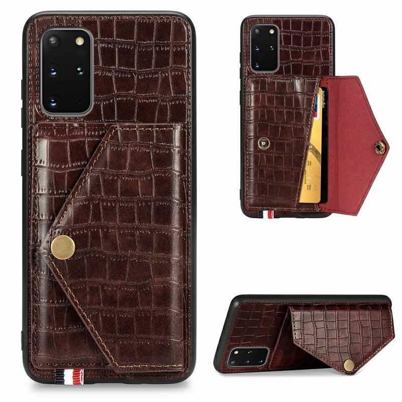Crocodile Pattern Leather Wallet Case Card Slot Shockproof Flip Cover for Samsung Galaxy S20 Plus - Brown