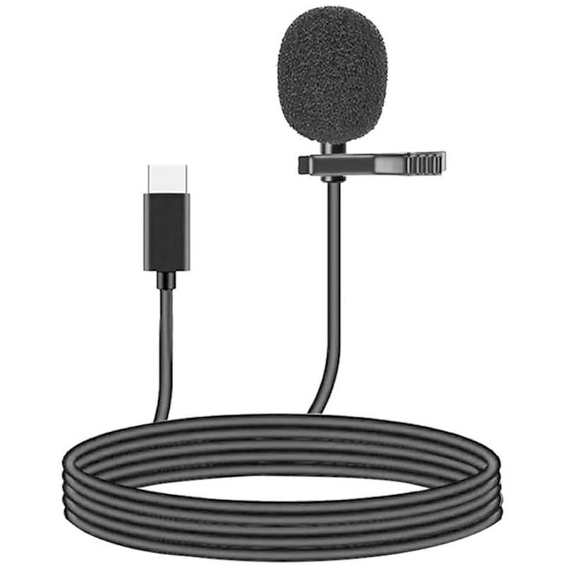 1.5m Type C Microphone USB C Mini Clip-on Lapel Lavalier Mic for Recording