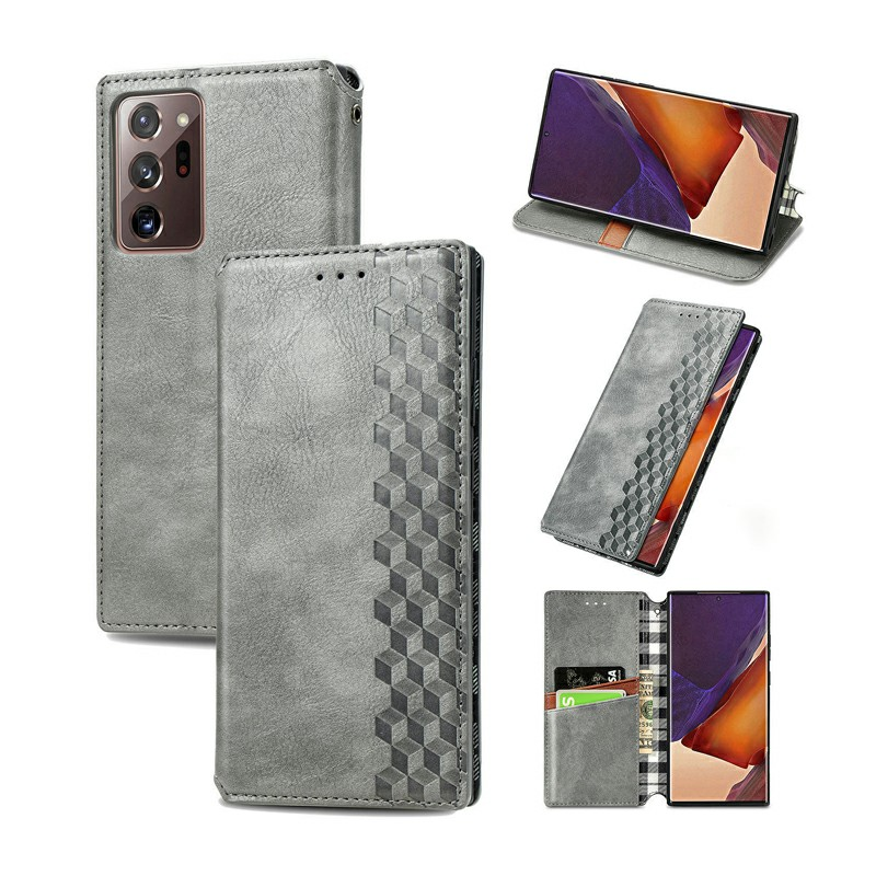 Magnetic PU Leather Wallet Case with Holder Stand Function for Samsung Galaxy Note 20 Ultra - Grey