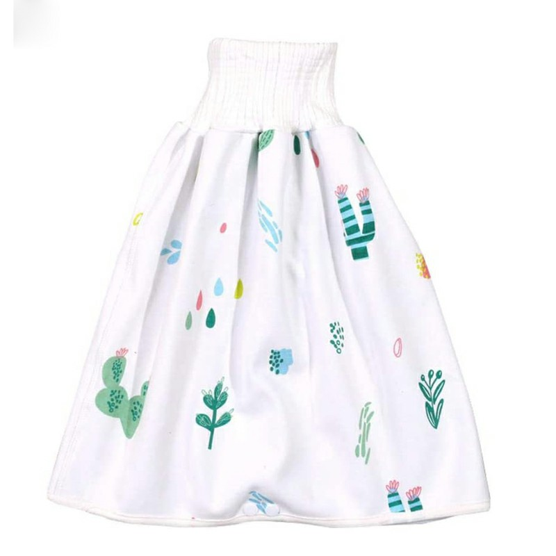 Childrens Comfy Diaper Skirt Shorts 2 in 1 Waterproof and Absorbent Shorts - Cactus L