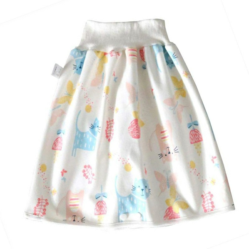 Childrens Comfy Diaper Skirt Shorts 2 in 1 Waterproof and Absorbent Shorts - Butterfly Cat L