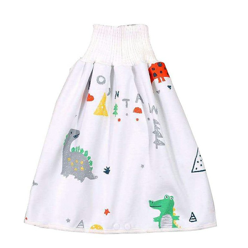 Childrens Comfy Diaper Skirt Shorts 2 in 1 Waterproof and Absorbent Shorts - Dinosaur Paradise L