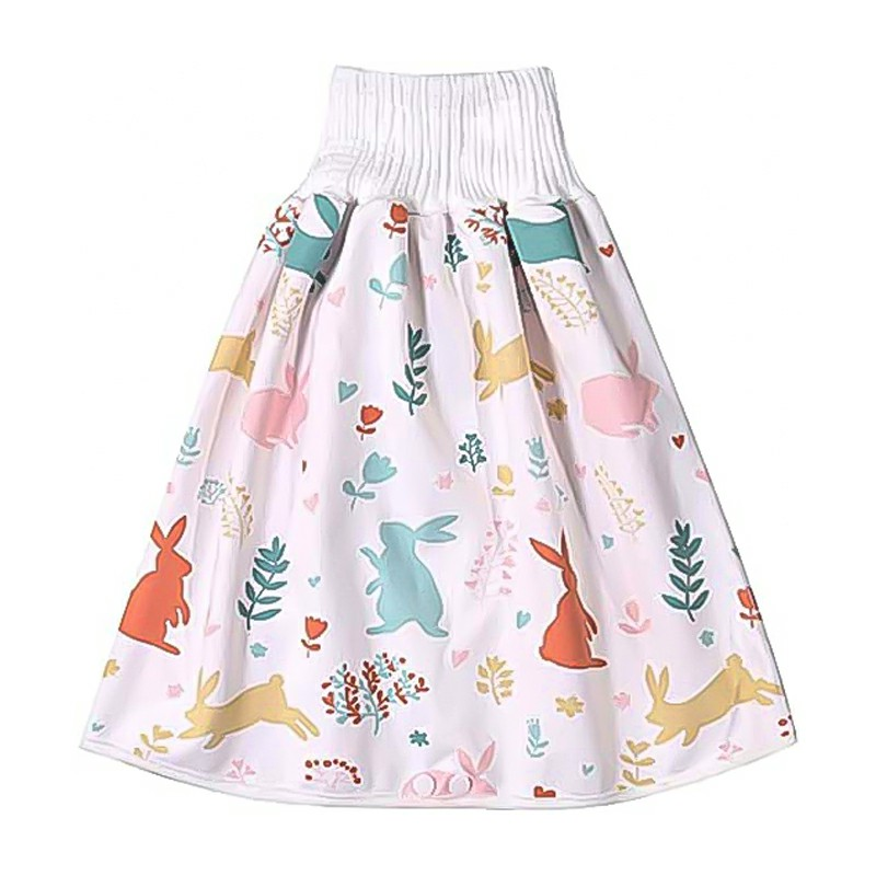 Childrens Comfy Diaper Skirt Shorts 2 in 1 Waterproof and Absorbent Shorts - Colorful Cute Rabbit L