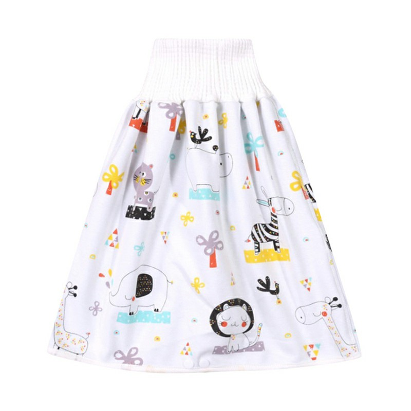 Childrens Comfy Diaper Skirt Shorts 2 in 1 Waterproof and Absorbent Shorts - Animal Party L