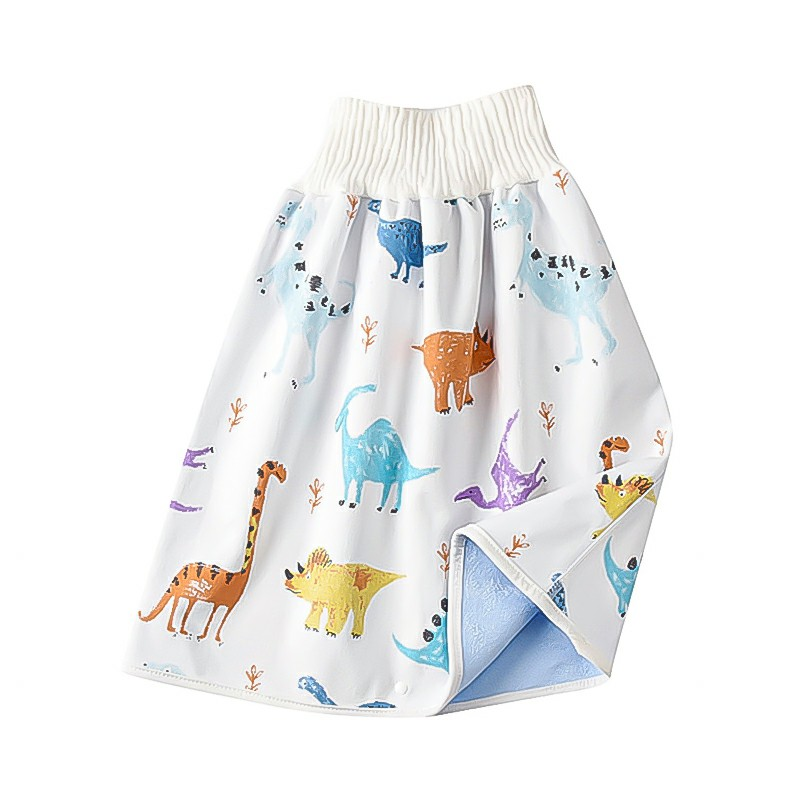 Childrens Comfy Diaper Skirt Shorts 2 in 1 Waterproof and Absorbent Shorts - Little Dinosaur L