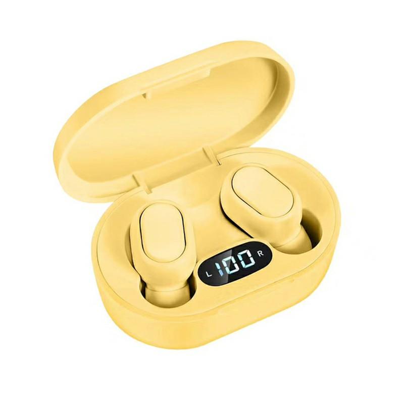 E7S TWS Wireless V5.0 Bluetooth Earphones Mini Stereo Earbuds Macaron Colour - Yellow