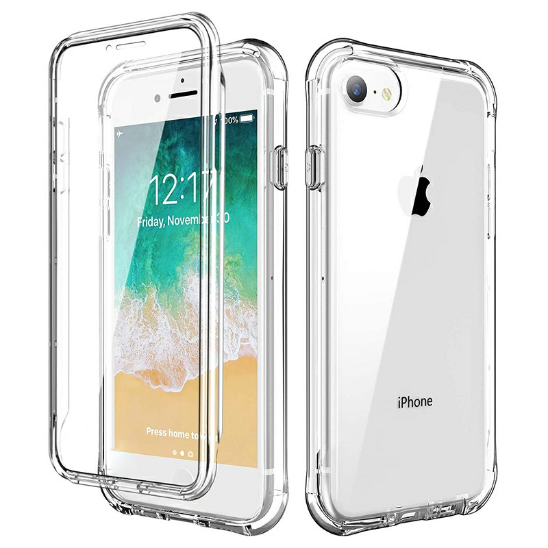 Full Body Slim TPU and PC Phone Case with Bumper Edge for iPhone 7/8/SE