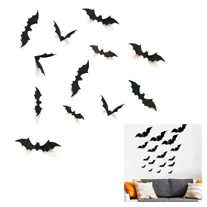 12 pcs DIY Halloween Party Supplies PVC 3D Decorative Scary Bats Wall Decal Wall Sticker
