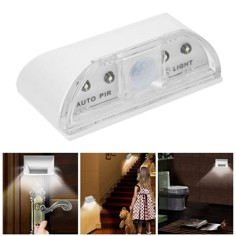 4 LED Light PIR Infrared Wireless Auto Sensor Motion Detector Door Keyhole Lamp - White