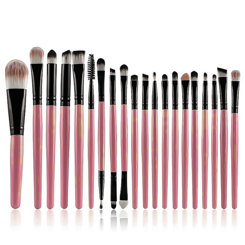 20 pcs Makeup Brush Set tools Make-up Toiletry Kit Wool Make Up Brush Set - Pink Pole Black