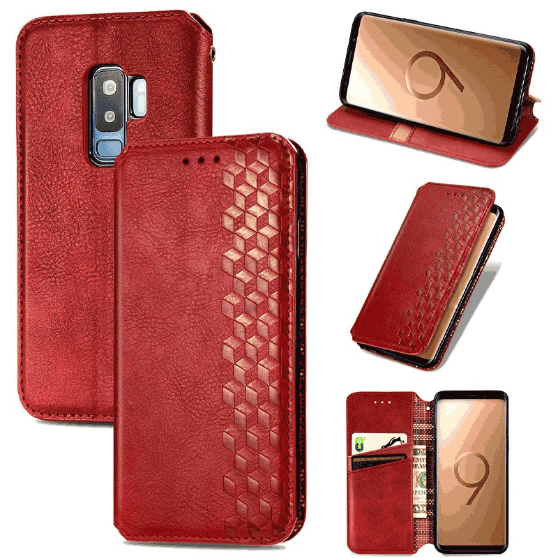 Magnetic PU Leather Wallet Case Flip Stand Cover for Samsung Galaxy S9 Plus - Red
