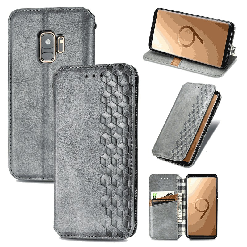Magnetic PU Leather Wallet Case Flip Stand Cover for Samsung Galaxy S9 - Grey