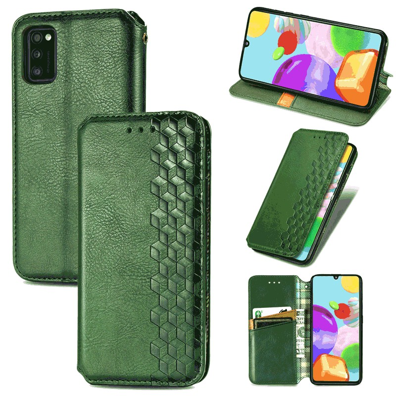 Leather Wallet Case Flip Stand Cover Magnetic Buckle for Samsung Galaxy A41 - Green
