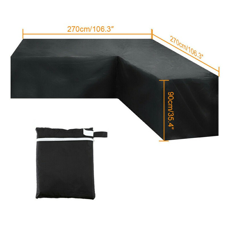 Waterproof Rattan Corner Furniture Cover Garden Outdoor Sofa Protector - 270x270x90cm