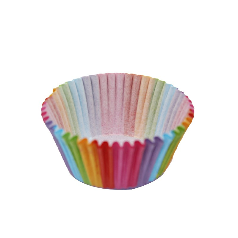 100pcs Colorful Rainbow Paper Cake Cupcake Liners Baking Muffin Cups Case for Party