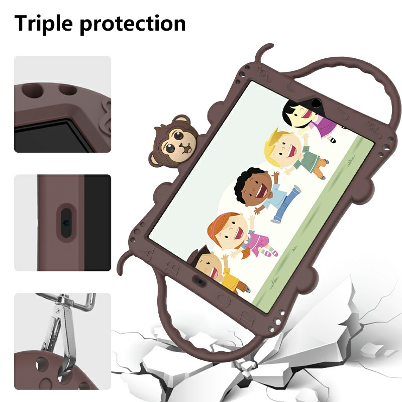 Heavy Duty Rugged PC Silicone Cartoon Case for Apple iPad air 3 10.5/10.2 - Brown