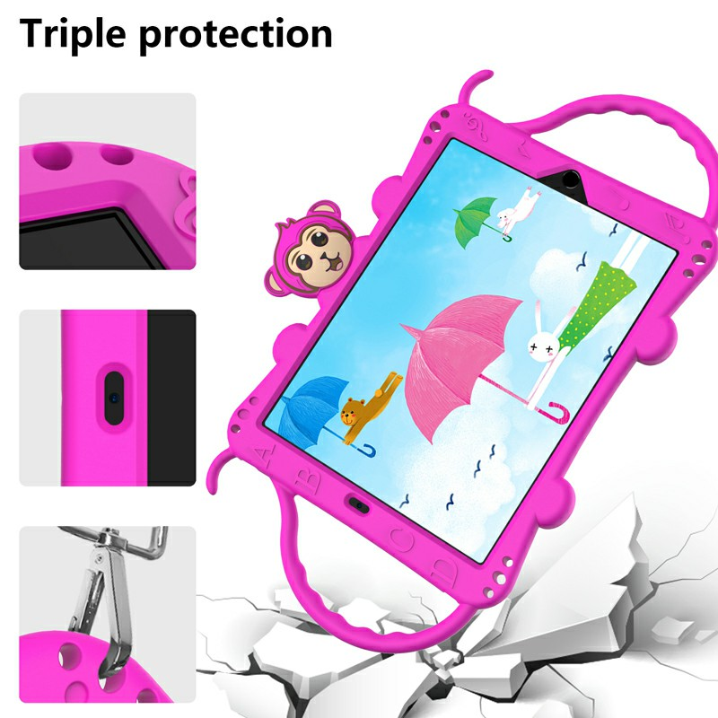 Heavy Duty Rugged PC Silicone Cartoon Case for Apple iPad air 3 10.5/10.2 - Hot Pink