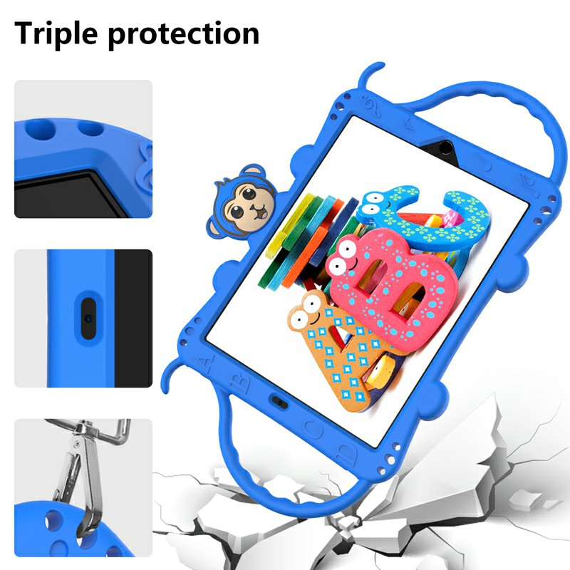 Heavy Duty Rugged PC Silicone Cartoon Case for Apple iPad air 3 10.5/10.2 - Blue