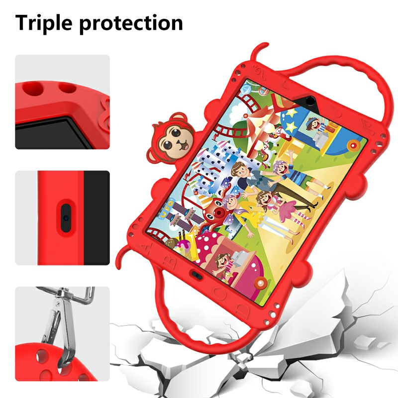 Heavy Duty Rugged PC Silicone Cartoon Case for Apple iPad air 3 10.5/10.2 - Red