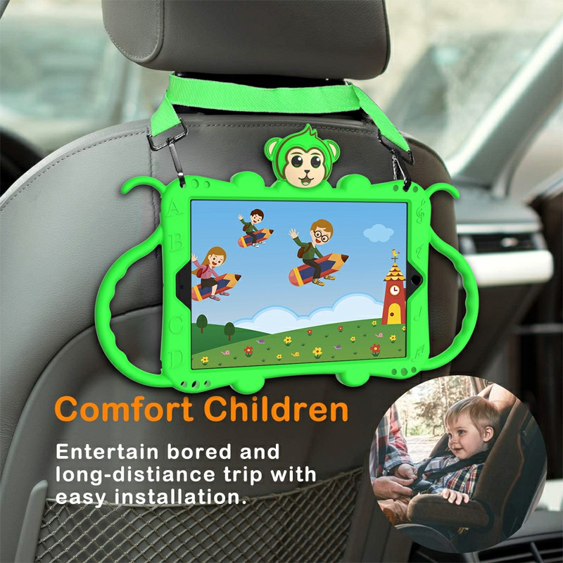 Heavy Duty Rugged PC Silicone Cartoon Case for Apple iPad 5/6/7/8 with Strap - Green
