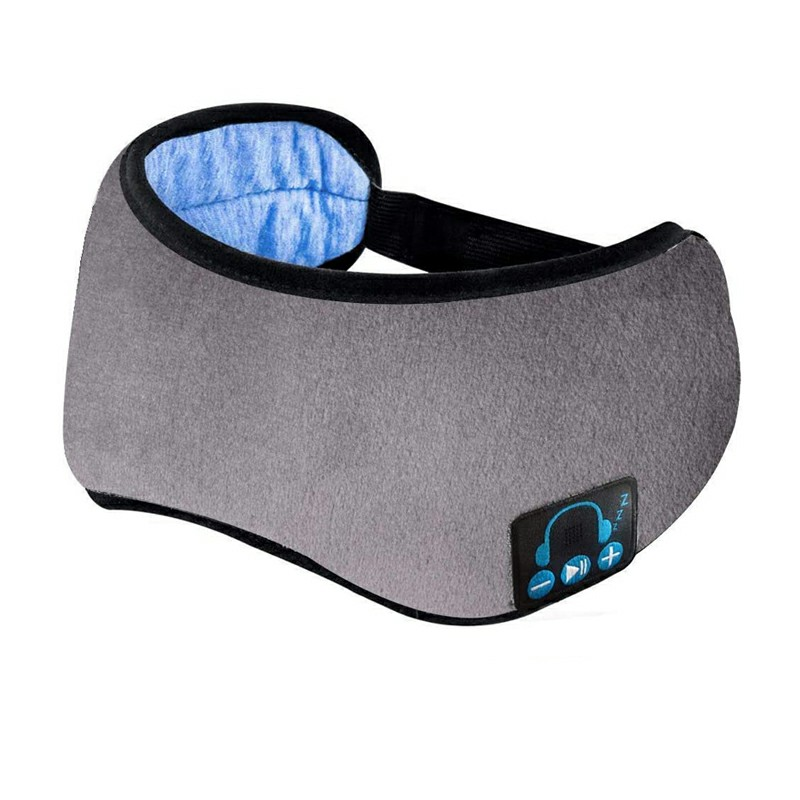 Wireless Bluetooth Headphones Soft Cotton Music Travel Sleeping Mask Built-in Stereo Speakers Mic - Grey