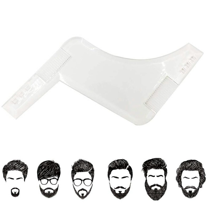 Men Beard Shaping Tool Styling Template Shaper Stencil Symmetry Trimming Comb - Clear