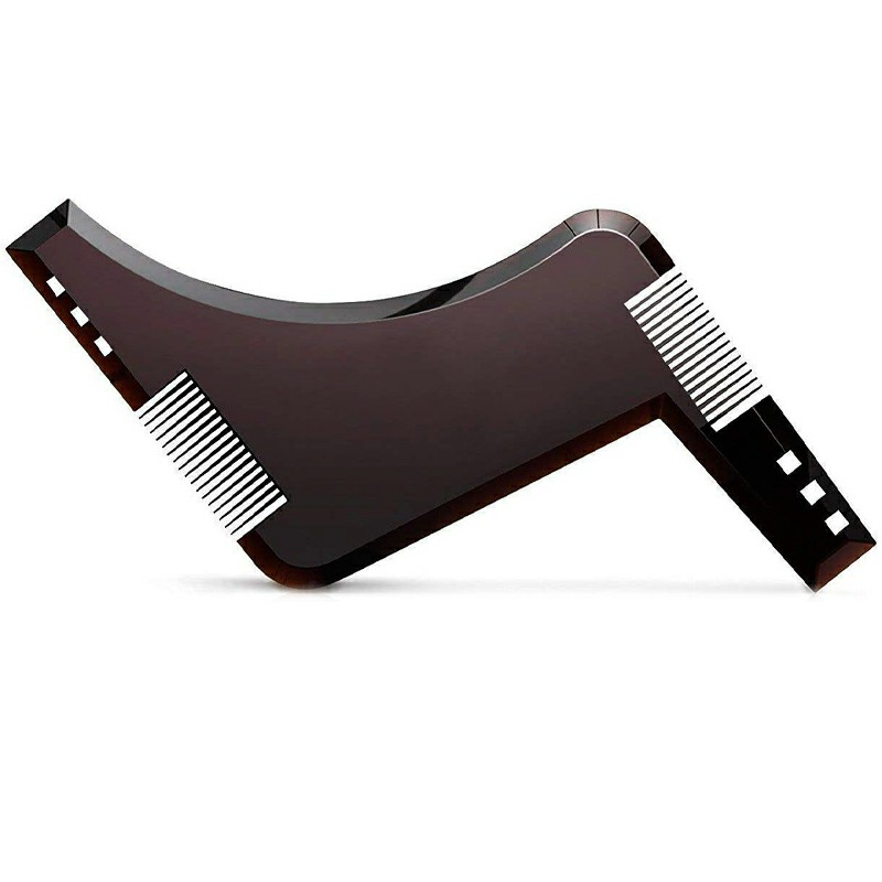 Men Beard Shaping Tool Styling Template Shaper Stencil Symmetry Trimming Comb - Brown