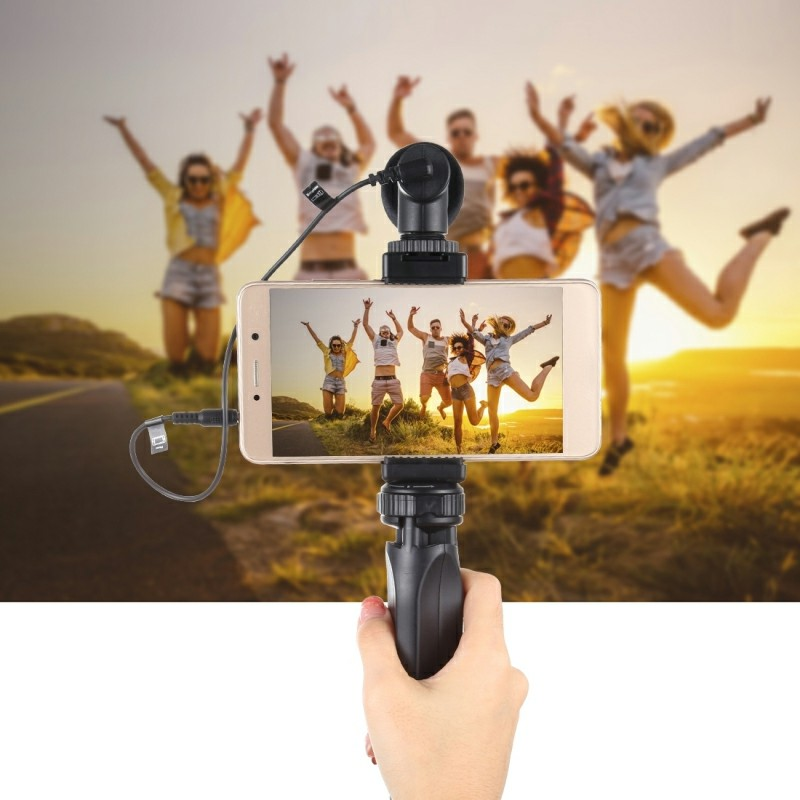 Pocket Mini Plastic Tripod Mount with Phone Clamp for Smartphones and Camera - Black
