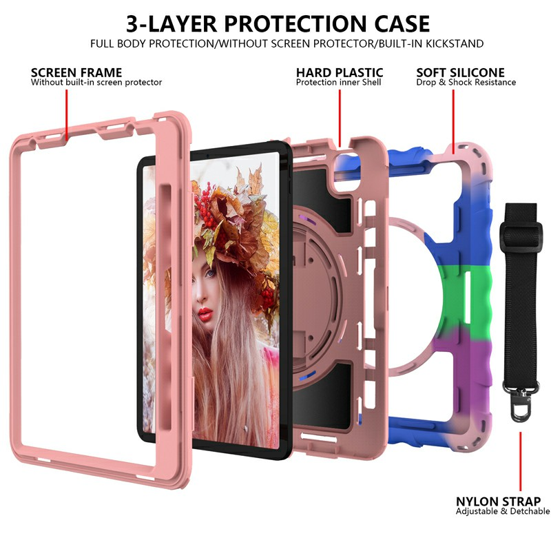 Heavy Duty Rugged PC Silicone Case for Apple iPad Air 4/Pro 11 2018/2020 with Strap - Color + Rose Gold