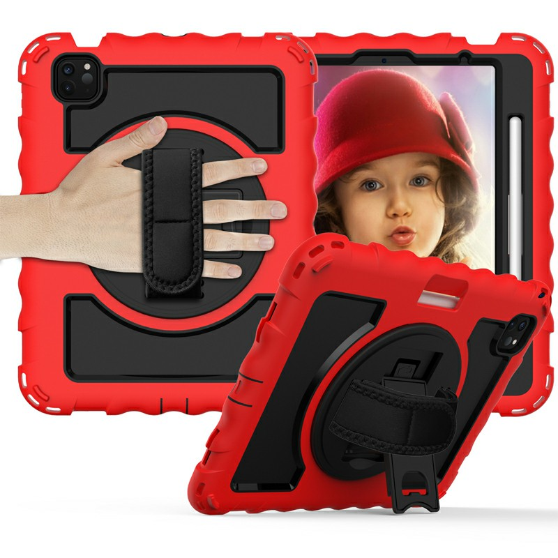 Heavy Duty Rugged PC Silicone Case for Apple iPad Air 4/Pro 11 2018/2020 with Strap - Red
