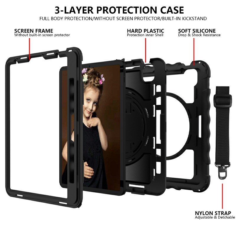 Heavy Duty Rugged PC Silicone Case for Apple iPad Air 4/Pro 11 2018/2020 with Strap - Black