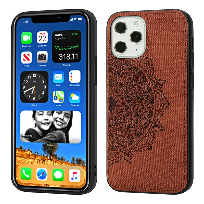 Mandala Embossed Fabric Phone Case TPU + PC Case for iPhone 12 Pro - Brown