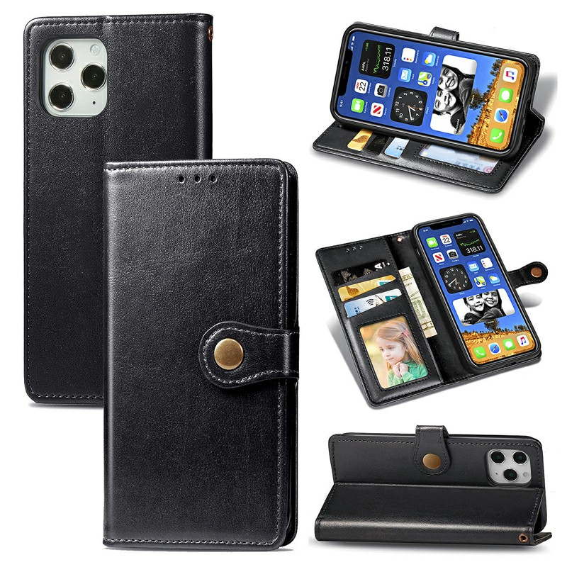 Magnetic Buckle PU Leather Wallet Case Flip Stand Cover for iPhone 12 Pro - Black