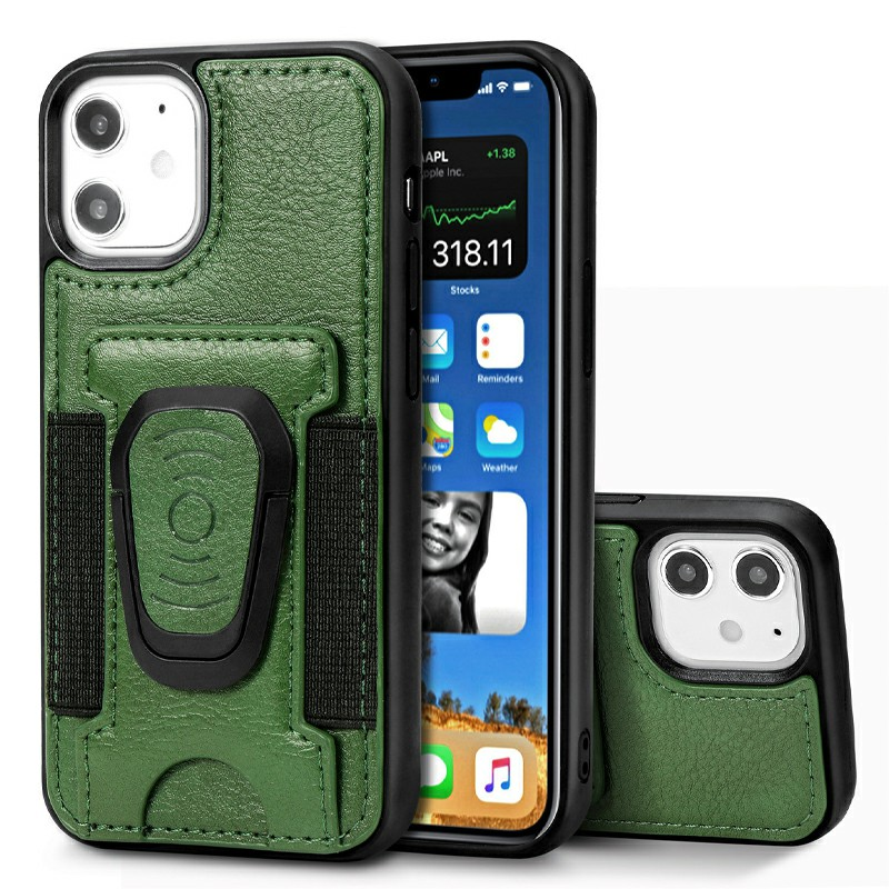 Leather Wallet Case Card Slot Shockproof Back Cover with Stand Holder for iPhone 12 Mini - Green