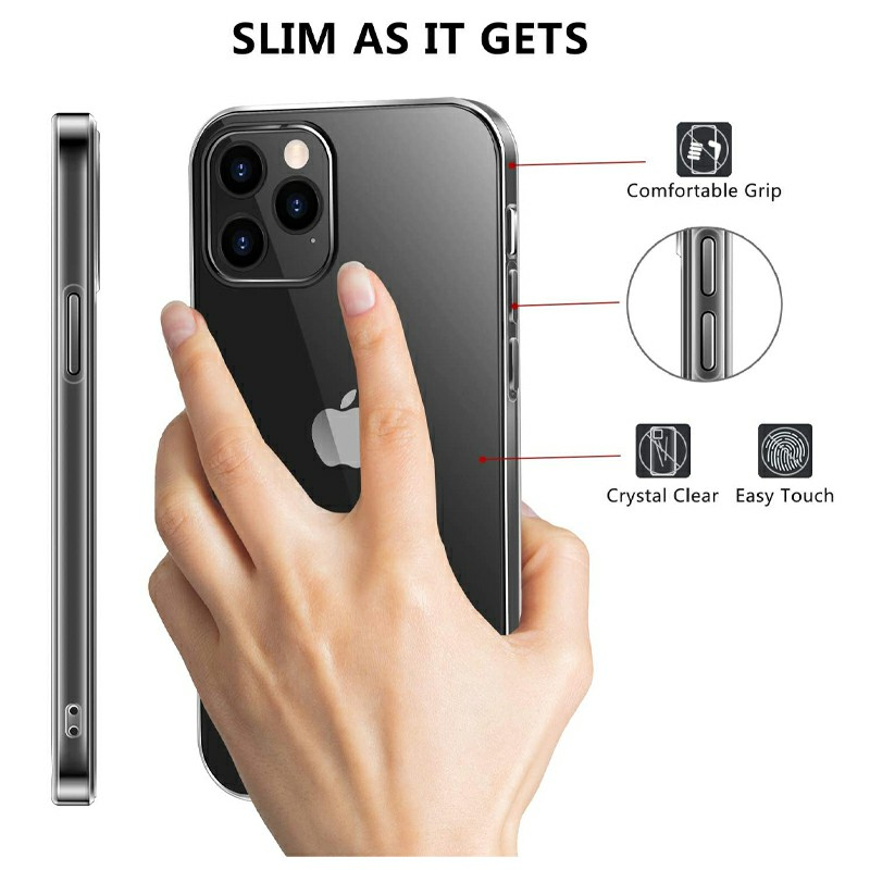 Soft Slim Silicone Protective Case TPU Rubber Back Cover for iPhone 12 Pro Max - Clear
