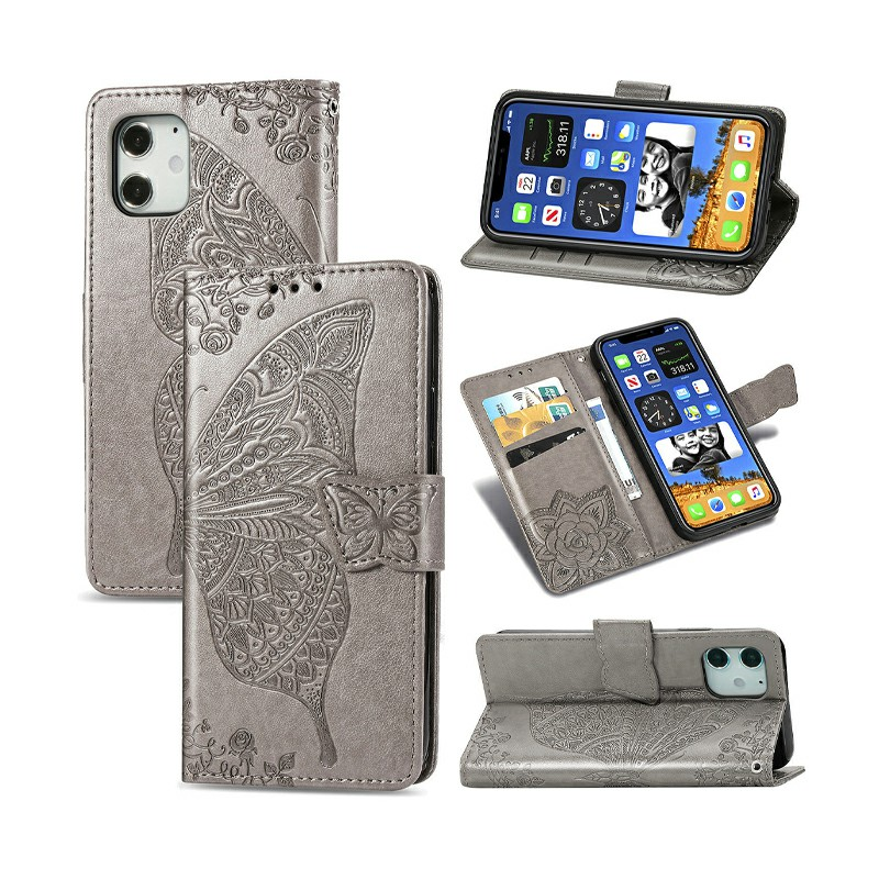 Flower Butterfly Embossed Protective Case PU Leather Case Wallet Cover for iPhone 12 - Grey