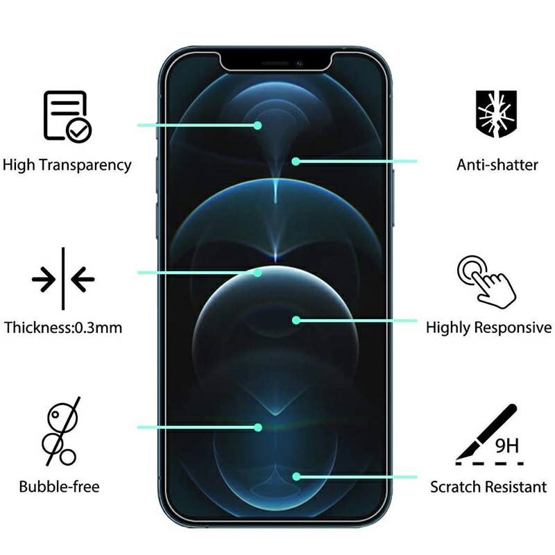 High Transparency Scratch Resistant Anti-shatter 2.5D Tempered Glass for iPhone 12 Pro