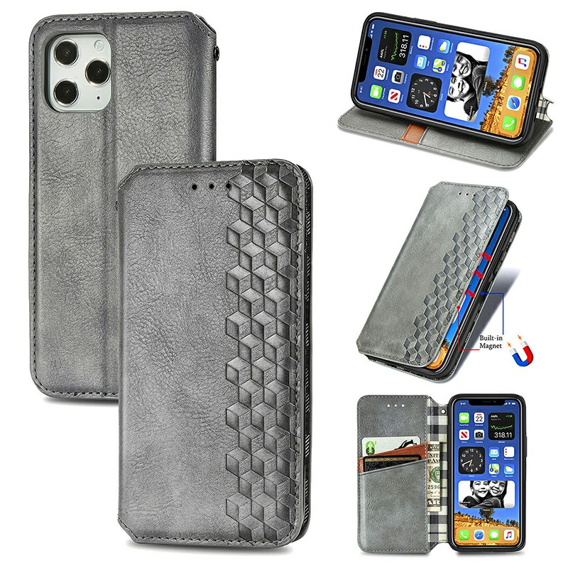 Three-dimensional Graphics Embossed Cover Magnetic PU Wallet Case with Stand Holder for iPhone 12 Pro - Grey