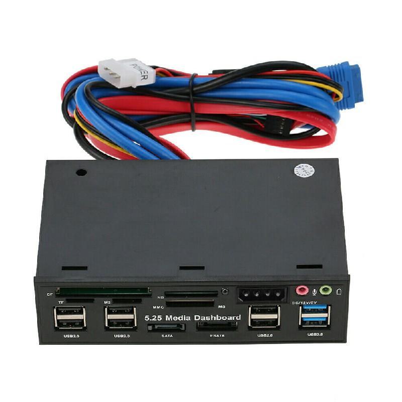 5.25 inch Multi Media Dashboard Front Panel Audio Port SD CF Card Reader e-SATA USB Cable