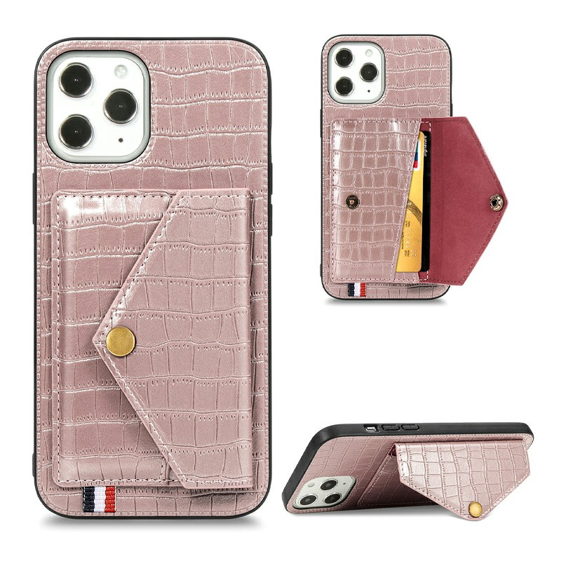 Crocodile Pattern Leather Wallet Case Card Slot Shockproof Back Cover for iPhone 12 Pro - Rose Gold