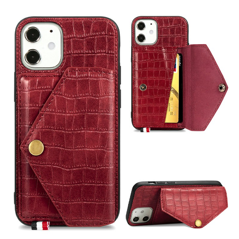 Crocodile Pattern Leather Wallet Case Card Slot Shockproof Back Cover for iPhone 12 - Red