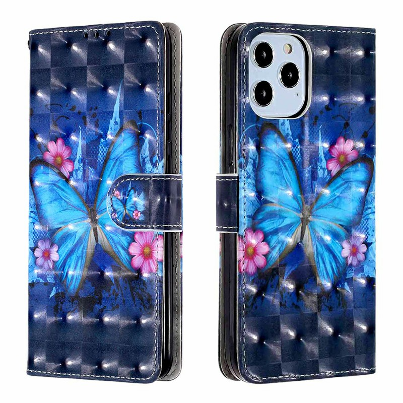 Magnetic PU Leather Wallet Card Case Flip Cover for iPhone 12 Pro - Blue Butterfly
