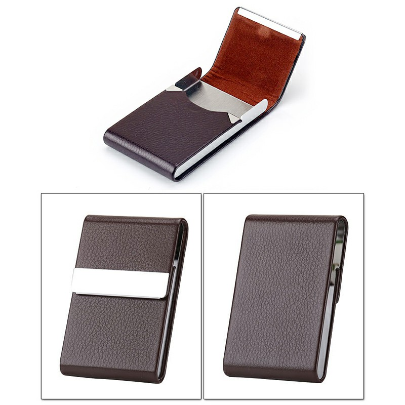 Unisex Pocket Tobacco Box Case PU Leather Slim Cigarette Roll Up Holder - Coffee