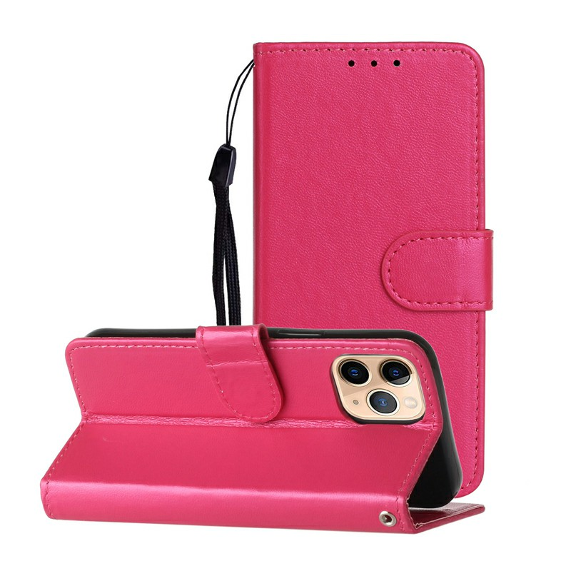 Magnetic PU Leather Wallet Flip Stand Case Cover for iPhone 12 Pro - Hot Pink