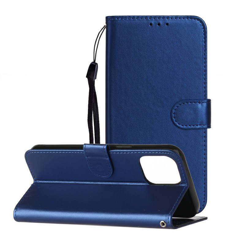 Magnetic PU Leather Wallet Flip Stand Case Cover for iPhone 12 - Blue