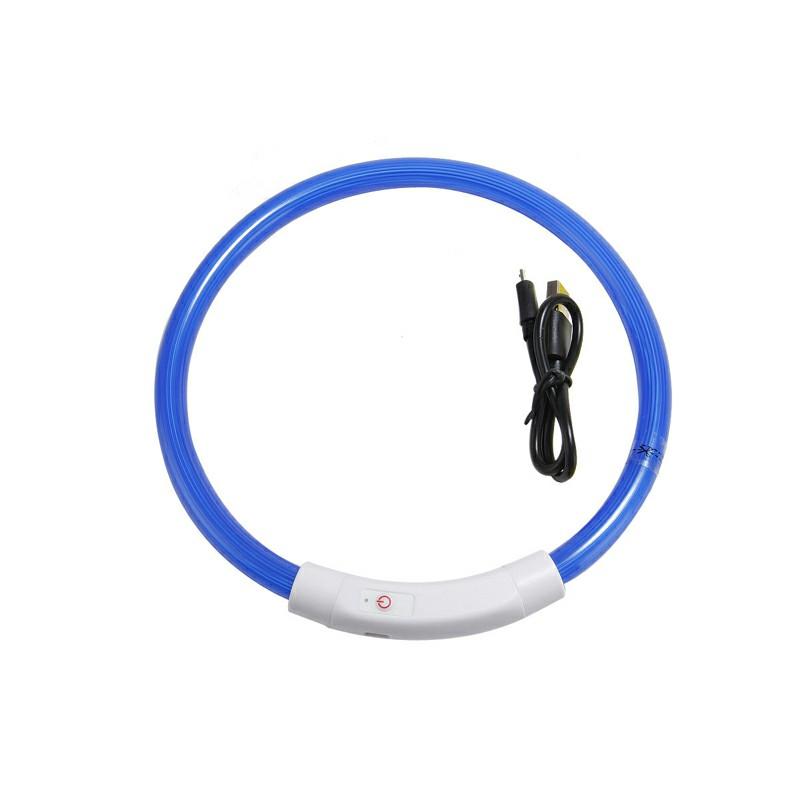 USB Rechargeable Pet Dog Collar LED Flashing Light Up Safety Belt Waterproof - Blue